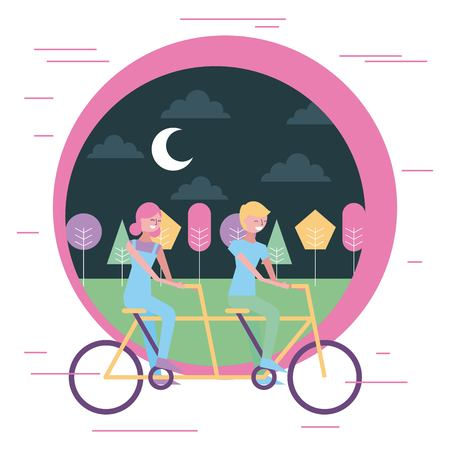 happy couple riding double bike in the park at night vector illustration