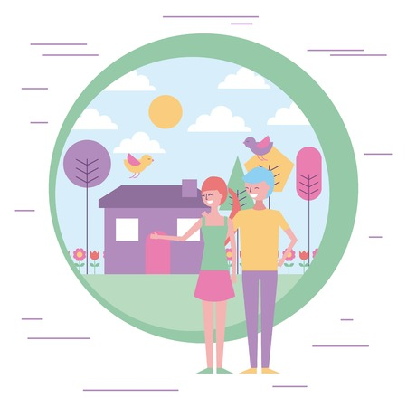 young couple people happy in garden house vector illustration