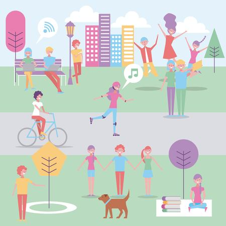 people in the park doing activities vector illustration