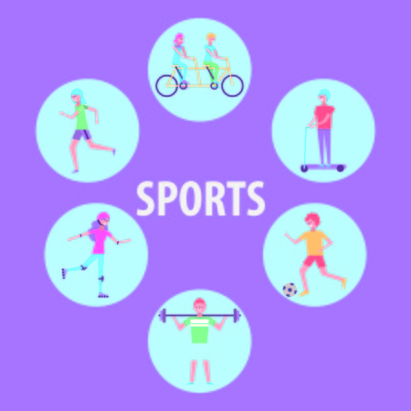 people sport activity athlete sport vector illustration
