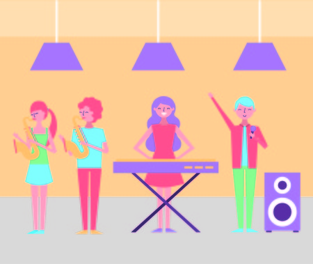 people with instruments musical synthesizer and audio speaker vector illustration