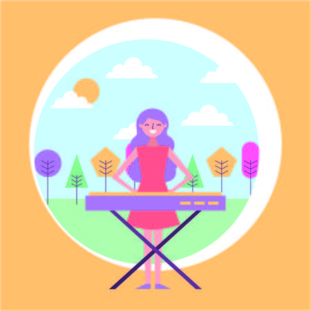 woman playing a synthesizer in the park vector illustration