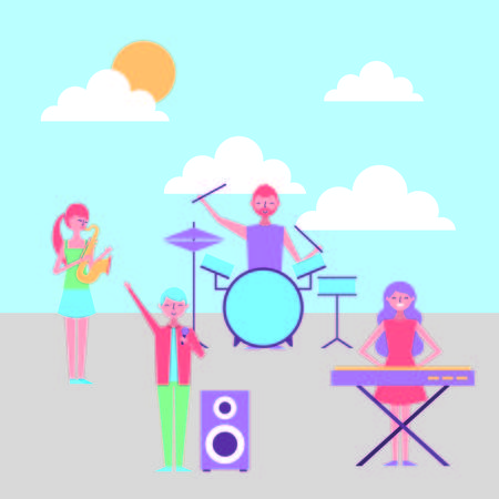 group people band playing musical instruments vector illustration