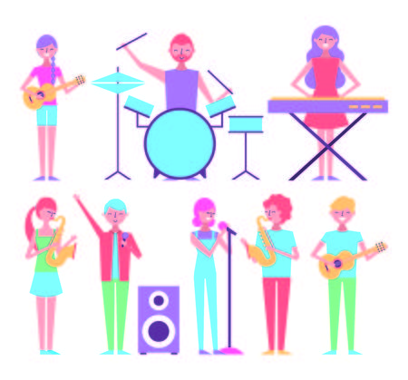 people playing musical instruments collection vector illustration