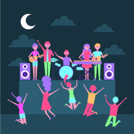 musician people with singer equipment scene concert at night vector illustration 向量圖像