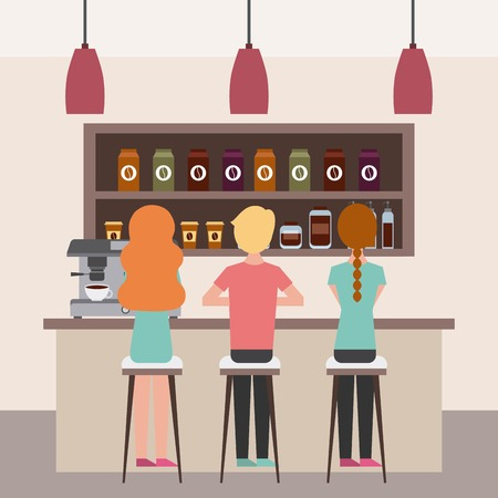 coffee shop interior people having break together vector illustration Ilustracja