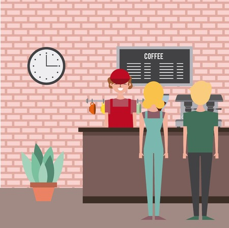 coffee shop employee service customer couple vector illustration  イラスト・ベクター素材