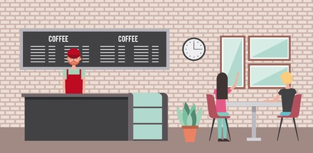 coffee shop barista behind counter and customer pointing something vector illustration