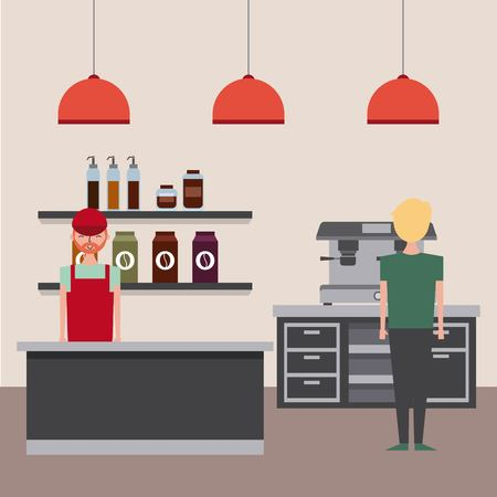 Coffee shop barista worker and customer looks espresso machine vector illustration