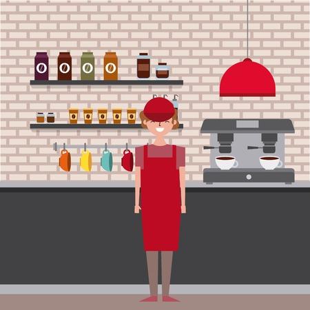 coffee shop interior and barista employee worker vector illustration Illustration