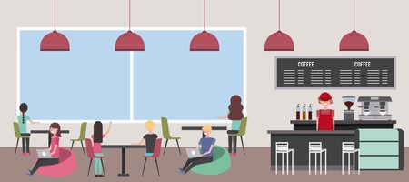 coffee shop people customer and barista panorama vector illustration Illustration