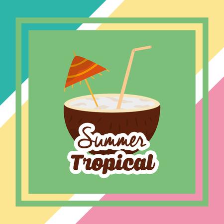 summer tropical season cocnut beverage drink cocktail vector illustration Illustration