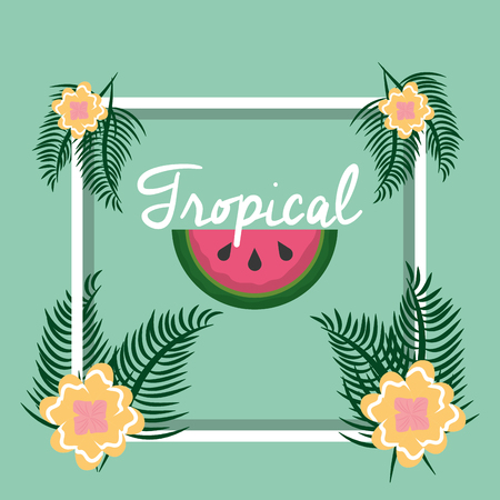 tropical fruit flower frame decoration vector illustration