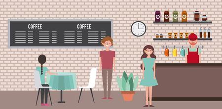 人々コーヒーショップバリスタと顧客ベクターイラスト
