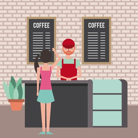 people coffee shop barista serving woman customer vector illustration