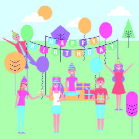 people celebrating birthday decoration in the park cartoon vector illustration