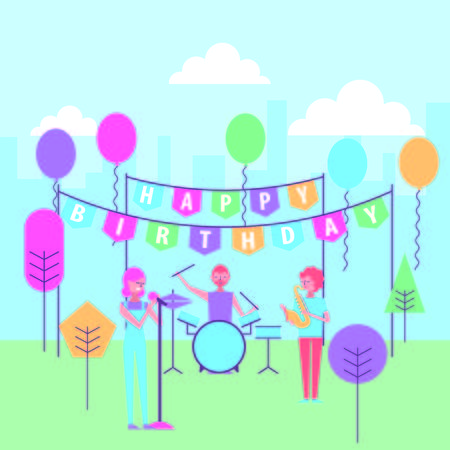 people musician group celebrating happy birthday in the park cartoon vector illustration