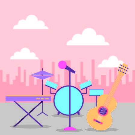 collection instruments musical equipment icons in city vector illustration  イラスト・ベクター素材