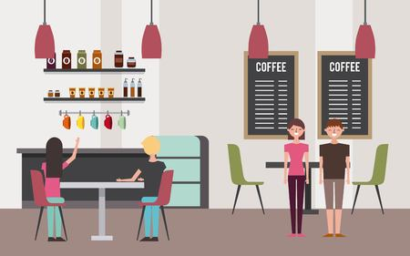 Café intérieur avec des gens de travail illustration vectorielle Banque d'images - 97337181