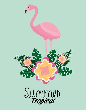 summer tropical flamingo flower leaves poster vector illustration