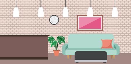 coffee shop interior comfort sofa picture clock and pot plant vector illustration