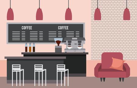 coffee shop interior sofa cushion counter list menu lamps vector illustration