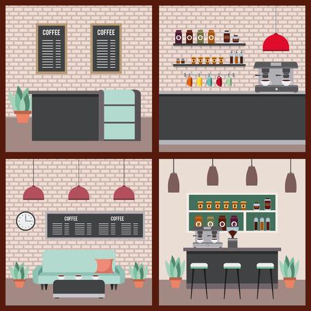 Café ensemble intérieur illustration vectorielle de différentes décors Banque d'images - 97337210
