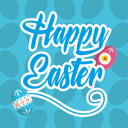 happy easter rabbit with basket eggs in field vector illustration