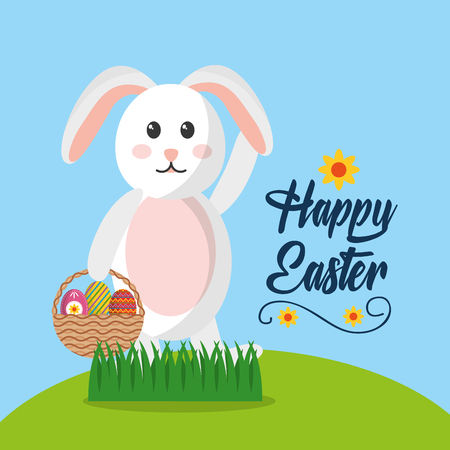 happy easter rabbit with basket eggs in field vector illustration Illustration