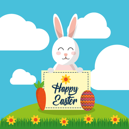 happy easter rabbit sitting holding message vector illustration