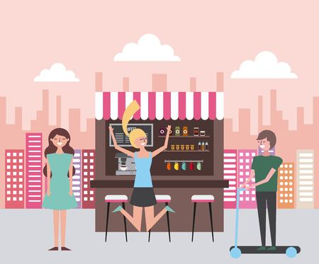 coffee shop in the street people happy vector illustration  イラスト・ベクター素材