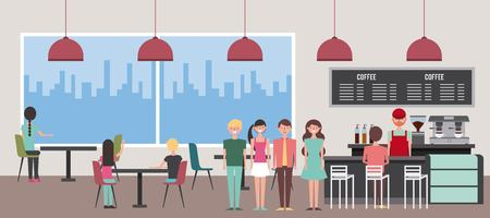 people coffee shop interior with view at city vector illustration Ilustrace