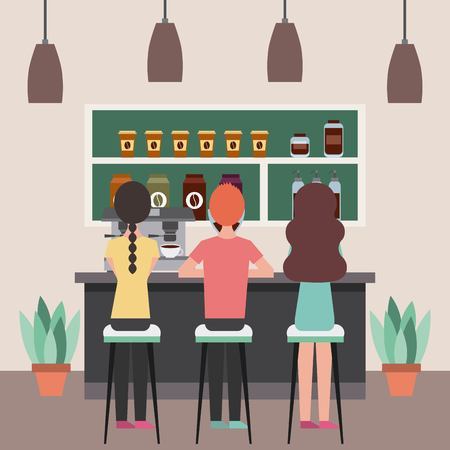 Café , intérieur , gens , séance , dans , tabourets , derrière , compteur , vecteur , illustration Banque d'images - 97334761