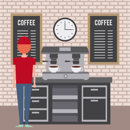 coffee shop interior barista employee and machine espresso furniture vector illustration Foto de archivo - 97334764