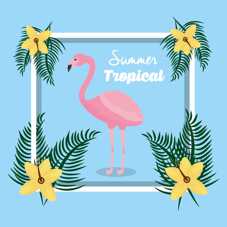 summer tropical flamingo and flower decoration vector illustration