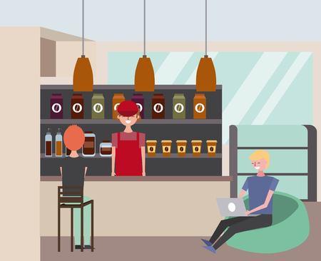 coffeeshop interieur met barista klant zitten in gewatteerde ontlasting vector illustratie Stock Illustratie