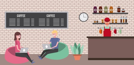 coffee shop employee and couple on padded stools with laptop vector illustration