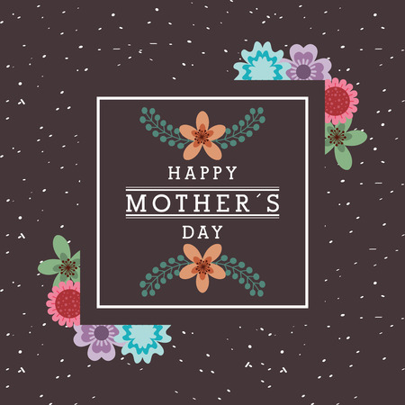 mothers day card flowers frame on black background vector illustration Illustration
