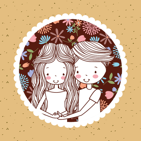 cute vintage portrait couple pregnancy with flowers decoration background vector illustration