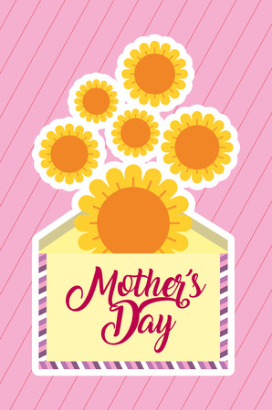 envelope message sunflowers decoration mothers day card vector illustration