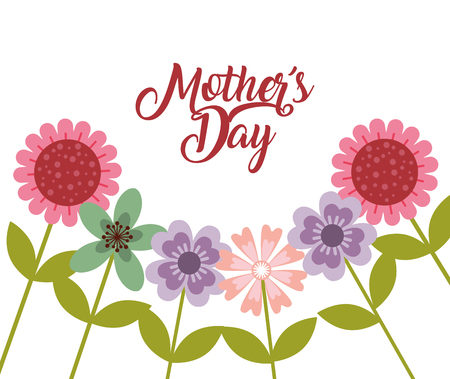 delicate bunch flowers mothers day card vector illustration Illustration