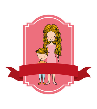 cute portrait cartoon mom and son in label retro style vector illustration Illustration