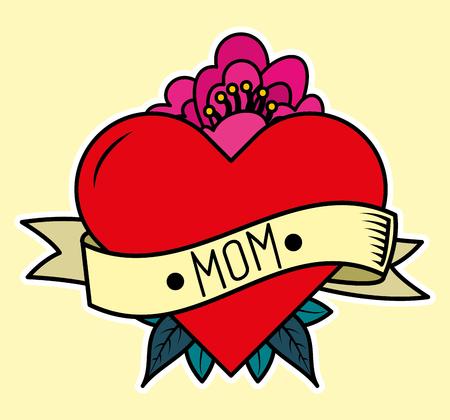 heart in love flower ribbon decoration - mothers day card vector illustration Illustration