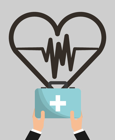 medical hand holding kit first aid heart rate health vector illustration Ilustrace