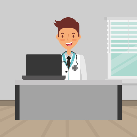 doctor sitting in consultation room with pc medical health vector illustration