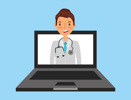 medical doctor in laptop online healthcare vector illustration