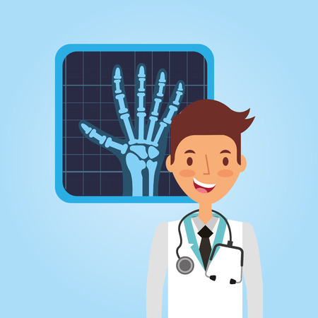 medical doctor with x ray hand vector illustration Illustration