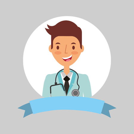 medical doctor professional with coat stethoscope vector illustration