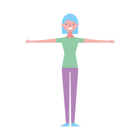 Young woman people character gesturing with arms vector illustration