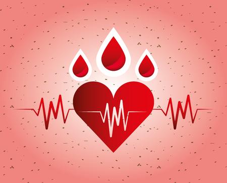 Medical health heart rate blood on festive background vector illustration
